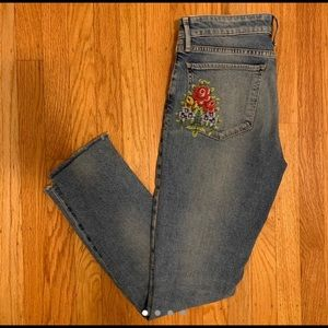 Lucky Brand flower embroidered jeans
